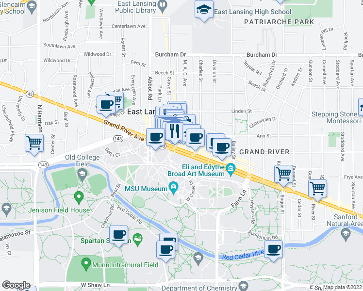 map of restaurants, bars, coffee shops, grocery stores, and more near 309 East Grand River Avenue in East Lansing