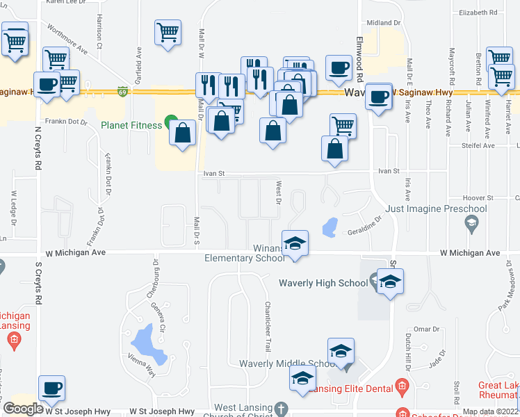 map of restaurants, bars, coffee shops, grocery stores, and more near 200-332 Parkwood Drive in Lansing