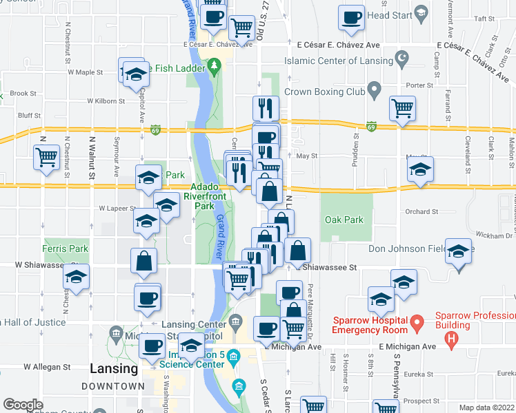 map of restaurants, bars, coffee shops, grocery stores, and more near 514 Erie Street in Lansing