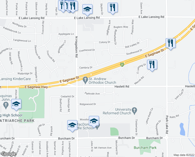 map of restaurants, bars, coffee shops, grocery stores, and more near 1634 Greencrest Avenue in East Lansing