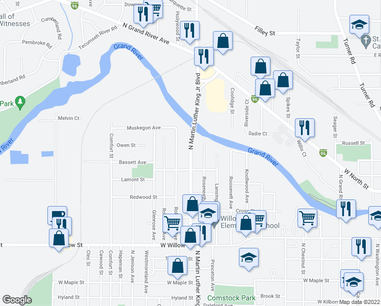 map of restaurants, bars, coffee shops, grocery stores, and more near 1714 Robertson Avenue in Lansing