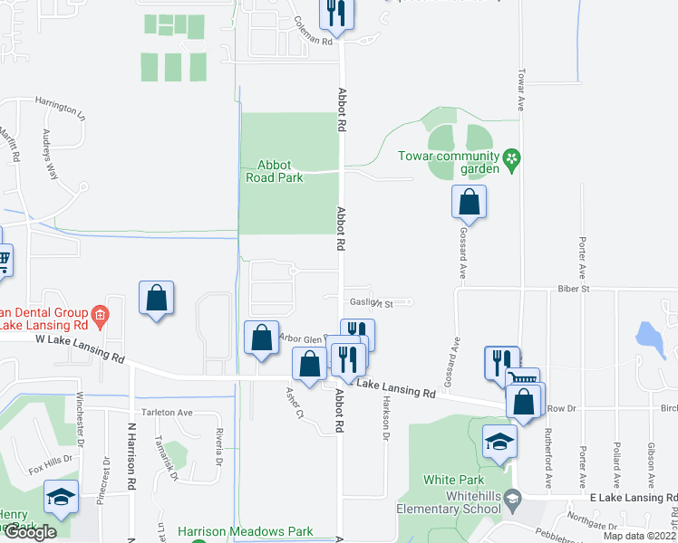 map of restaurants, bars, coffee shops, grocery stores, and more near 6280 Abbot Road in East Lansing