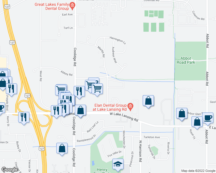 map of restaurants, bars, coffee shops, grocery stores, and more near 2530-2540 Marfitt Road in East Lansing