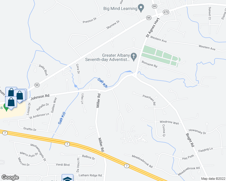 map of restaurants, bars, coffee shops, grocery stores, and more near 1 Vermont View Drive in Latham