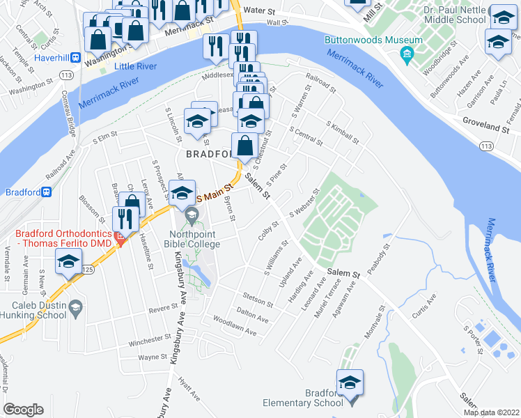 map of restaurants, bars, coffee shops, grocery stores, and more near 25 Hawthorne Street in Haverhill