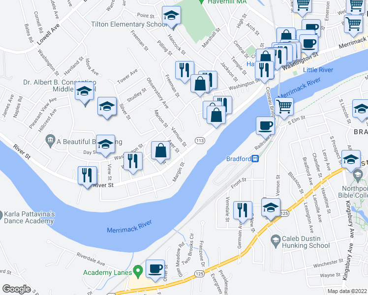 map of restaurants, bars, coffee shops, grocery stores, and more near 8 Varnum Street in Haverhill