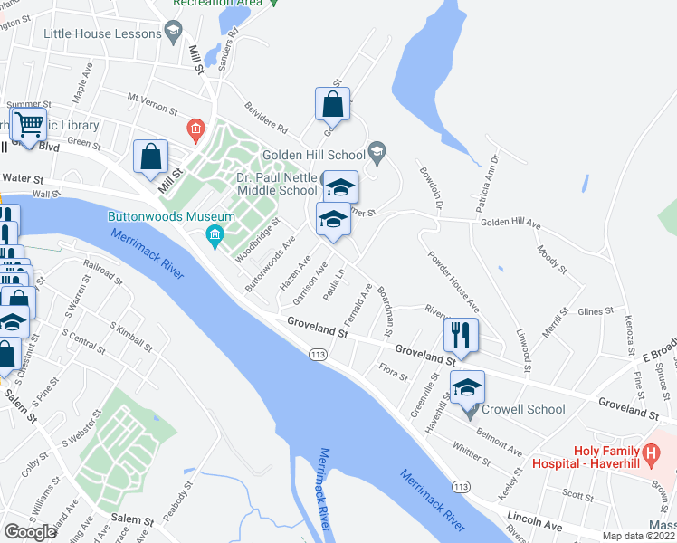 map of restaurants, bars, coffee shops, grocery stores, and more near 7 Paula Lane in Haverhill