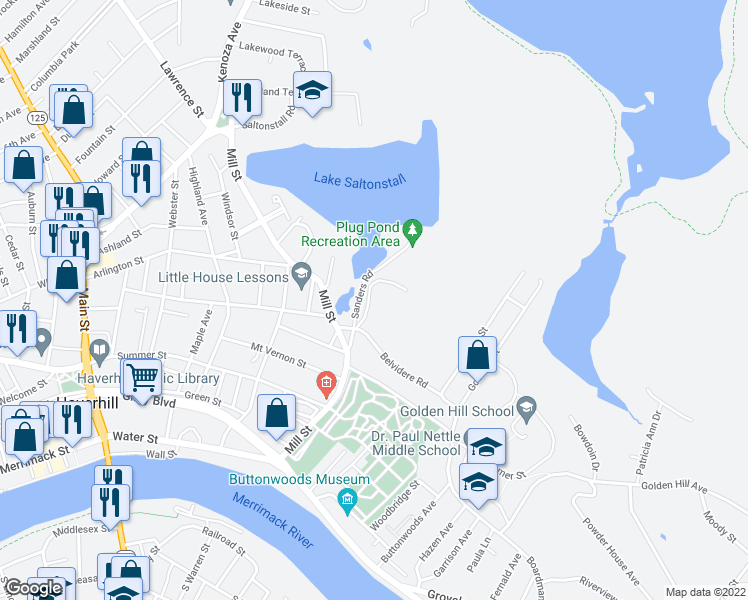 map of restaurants, bars, coffee shops, grocery stores, and more near in Haverhill