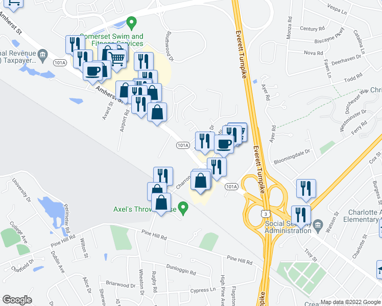 map of restaurants, bars, coffee shops, grocery stores, and more near 303 Amherst Street in Nashua