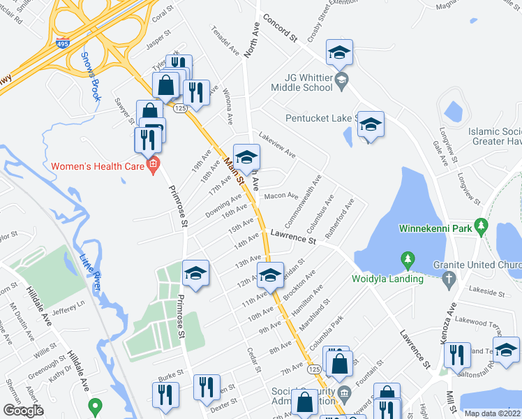 map of restaurants, bars, coffee shops, grocery stores, and more near 1 North Avenue in Haverhill