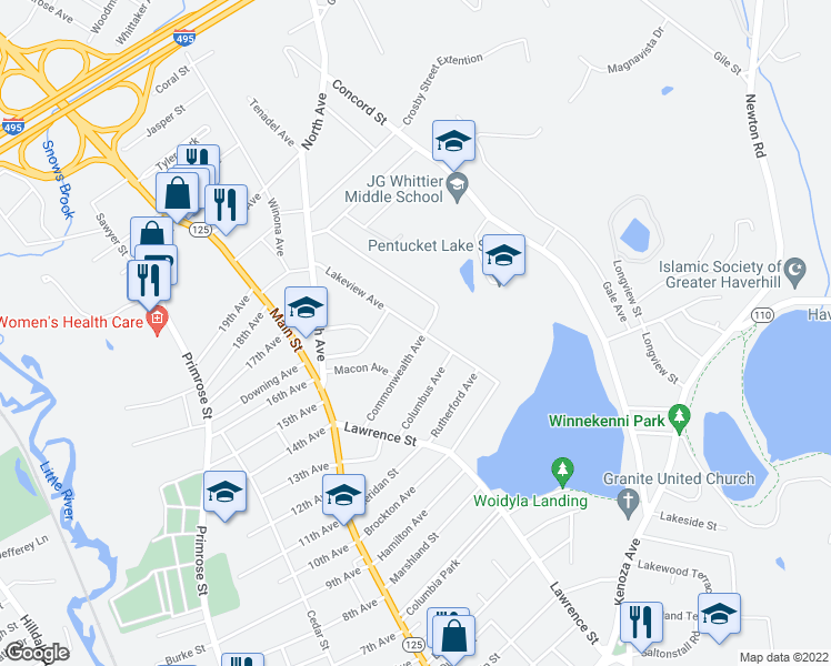 map of restaurants, bars, coffee shops, grocery stores, and more near 85 Lakeview Ave in Haverhill