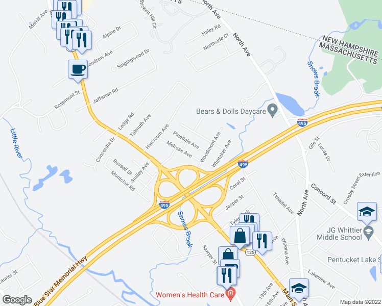 map of restaurants, bars, coffee shops, grocery stores, and more near 25 Melrose Avenue in Haverhill