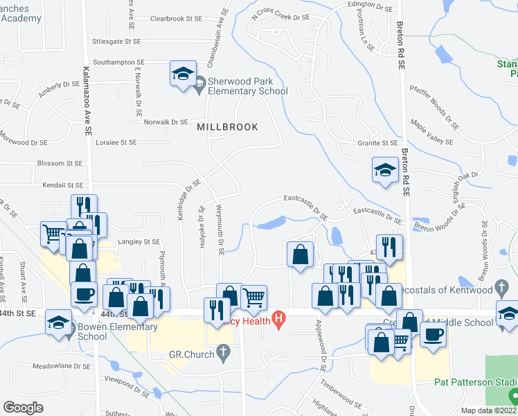 map of restaurants, bars, coffee shops, grocery stores, and more near 2037 Eastcastle Dr SE in Grand Rapids