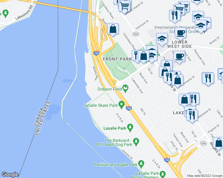 map of restaurants, bars, coffee shops, grocery stores, and more near Busti Avenue in Buffalo