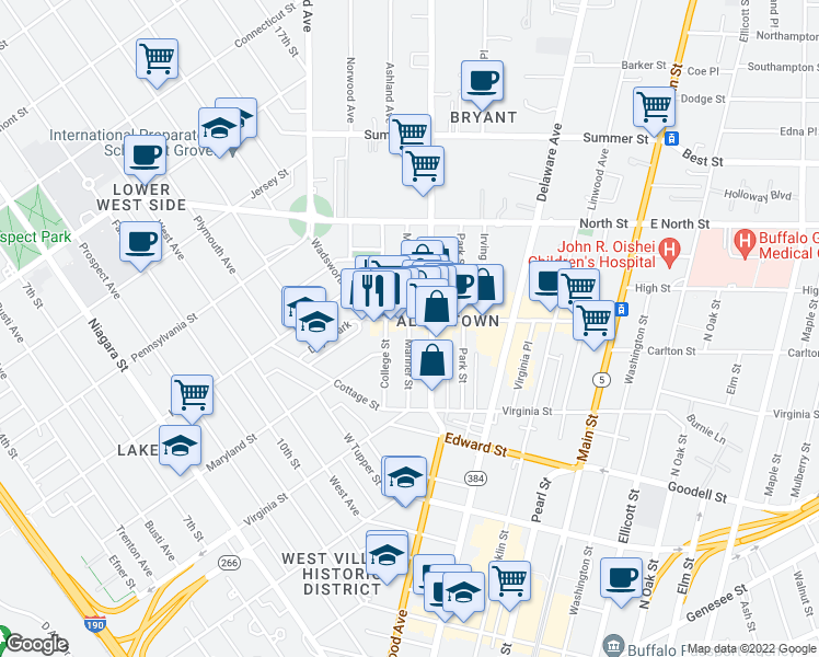 map of restaurants, bars, coffee shops, grocery stores, and more near 84 Mariner Street in Buffalo