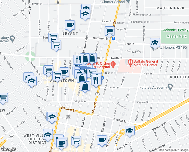 map of restaurants, bars, coffee shops, grocery stores, and more near 120 N Pearl St in Buffalo