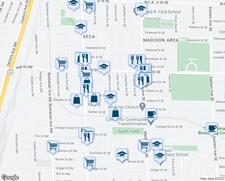 map of restaurants, bars, coffee shops, grocery stores, and more near 1304 Jefferson Avenue Southeast in Grand Rapids