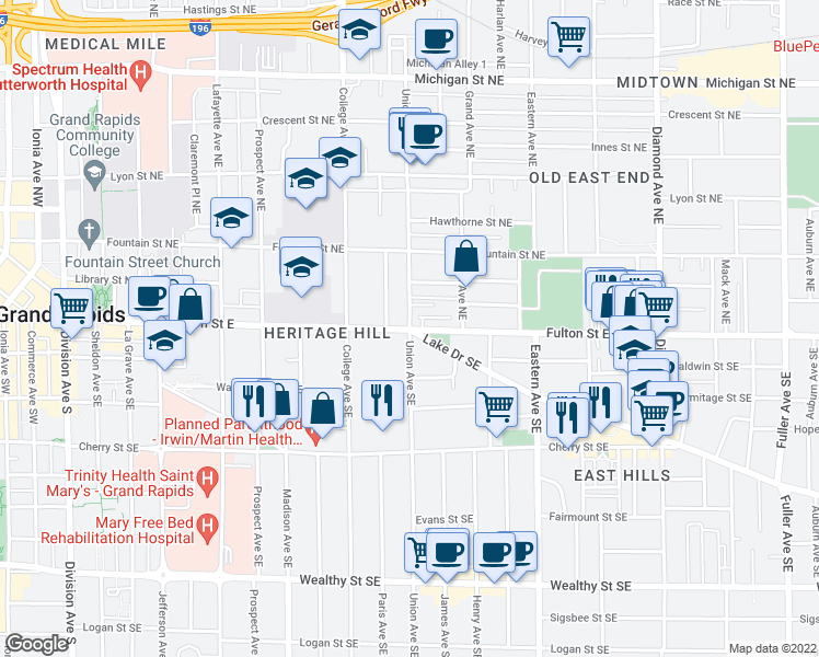 map of restaurants, bars, coffee shops, grocery stores, and more near Fulton St E & Union Ave SE in Grand Rapids