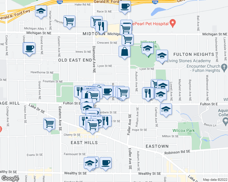 map of restaurants, bars, coffee shops, grocery stores, and more near 46 Mack Ave NE in Grand Rapids