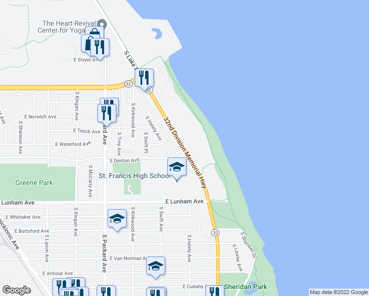 map of restaurants, bars, coffee shops, grocery stores, and more near 4110 South Lake Drive in Milwaukee