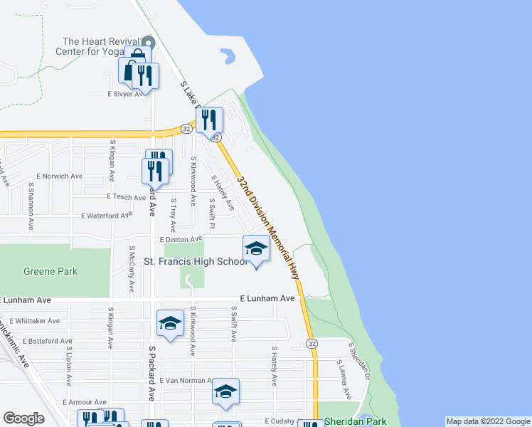 map of restaurants, bars, coffee shops, grocery stores, and more near 4091 South Lake Drive in St. Francis