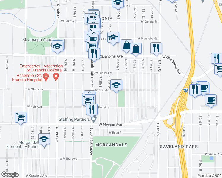 map of restaurants, bars, coffee shops, grocery stores, and more near 3278 S 11th St in Milwaukee