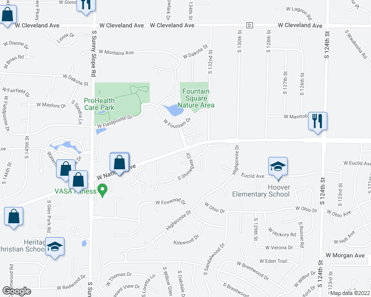 map of restaurants, bars, coffee shops, grocery stores, and more near 3101-3173 South Stonegate Circle in New Berlin
