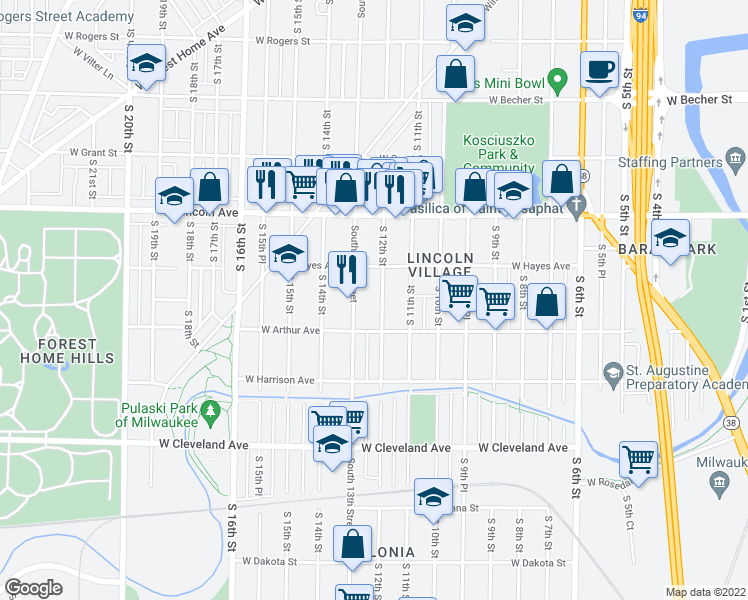 map of restaurants, bars, coffee shops, grocery stores, and more near 2447 S 12th St in Milwaukee