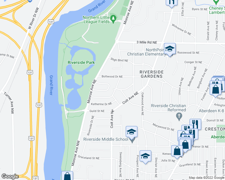 map of restaurants, bars, coffee shops, grocery stores, and more near 2477 Riverside Drive Northeast in Grand Rapids