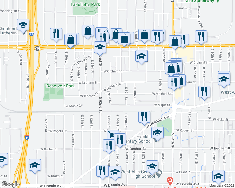 map of restaurants, bars, coffee shops, grocery stores, and more near W Mitchell St & S 90th St in West Allis