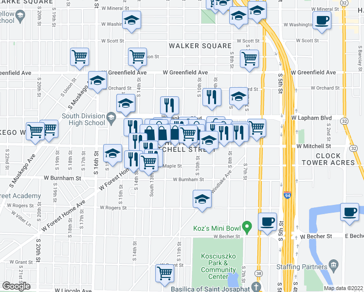 map of restaurants, bars, coffee shops, grocery stores, and more near West Mitchell Street