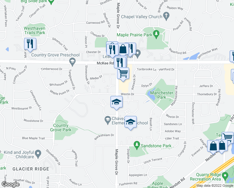 map of restaurants, bars, coffee shops, grocery stores, and more near Maple Grove Drive & East Pass in Madison