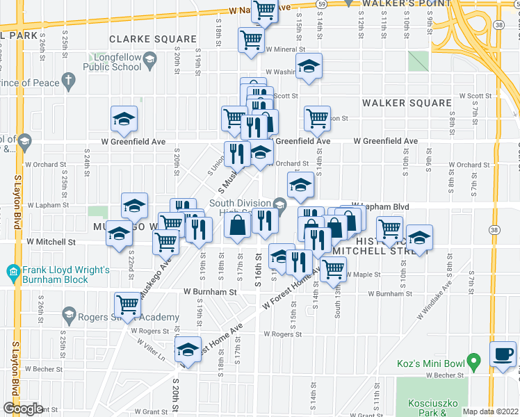 map of restaurants, bars, coffee shops, grocery stores, and more near 916 West Lapham Street in Milwaukee