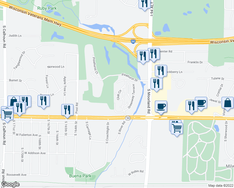 map of restaurants, bars, coffee shops, grocery stores, and more near 1200 Club Cir in Brookfield