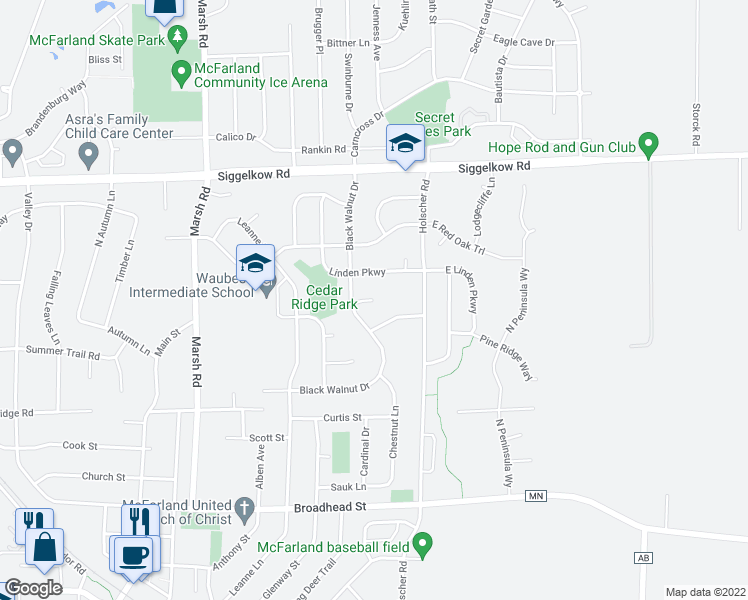 map of restaurants, bars, coffee shops, grocery stores, and more near 5806 Cedar Ct in McFarland