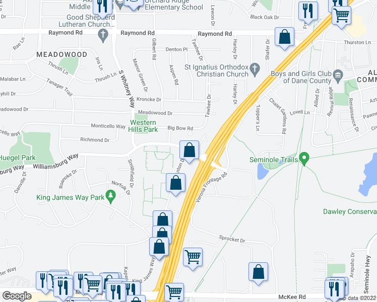 map of restaurants, bars, coffee shops, grocery stores, and more near Williamsburg Way & Anton Dr in Fitchburg