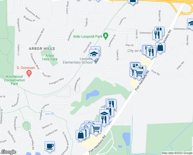 map of restaurants, bars, coffee shops, grocery stores, and more near 2301 Traceway Dr in Madison
