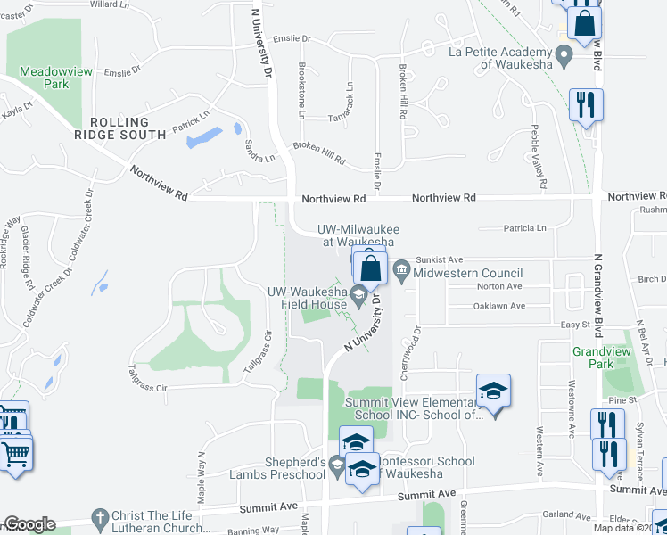 map of restaurants, bars, coffee shops, grocery stores, and more near 1000 North University Drive in Waukesha
