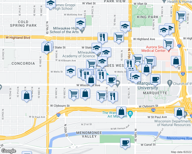 map of restaurants, bars, coffee shops, grocery stores, and more near 732-774 North 21st Street in Milwaukee