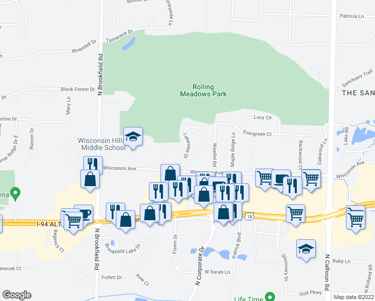 map of restaurants, bars, coffee shops, grocery stores, and more near 790 Lakeview Drive in Brookfield