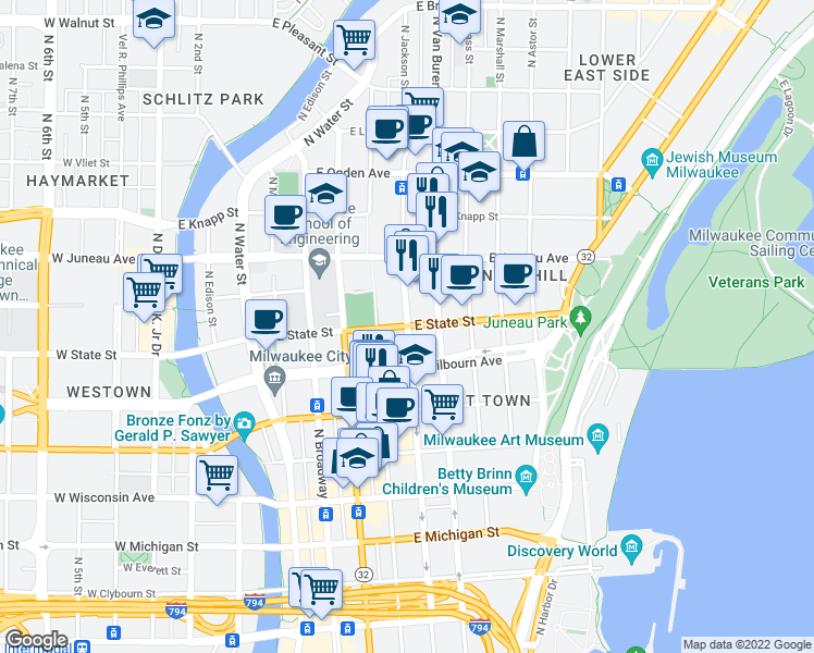 map of restaurants, bars, coffee shops, grocery stores, and more near N Jackson St & E State St in Milwaukee