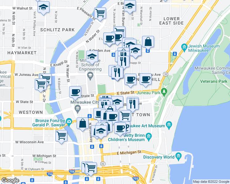 map of restaurants, bars, coffee shops, grocery stores, and more near 1009 North Jackson Street in Milwaukee
