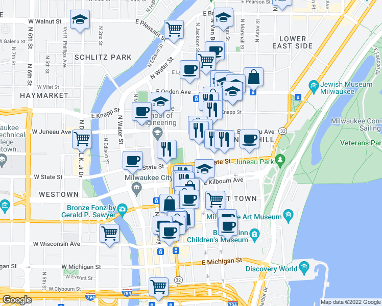 map of restaurants, bars, coffee shops, grocery stores, and more near 500 North Harbor Drive in Milwaukee