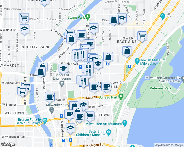 map of restaurants, bars, coffee shops, grocery stores, and more near 719 East Knapp Street in Milwaukee
