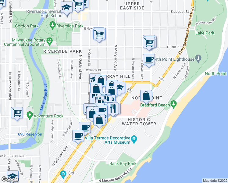 map of restaurants, bars, coffee shops, grocery stores, and more near in Milwaukee