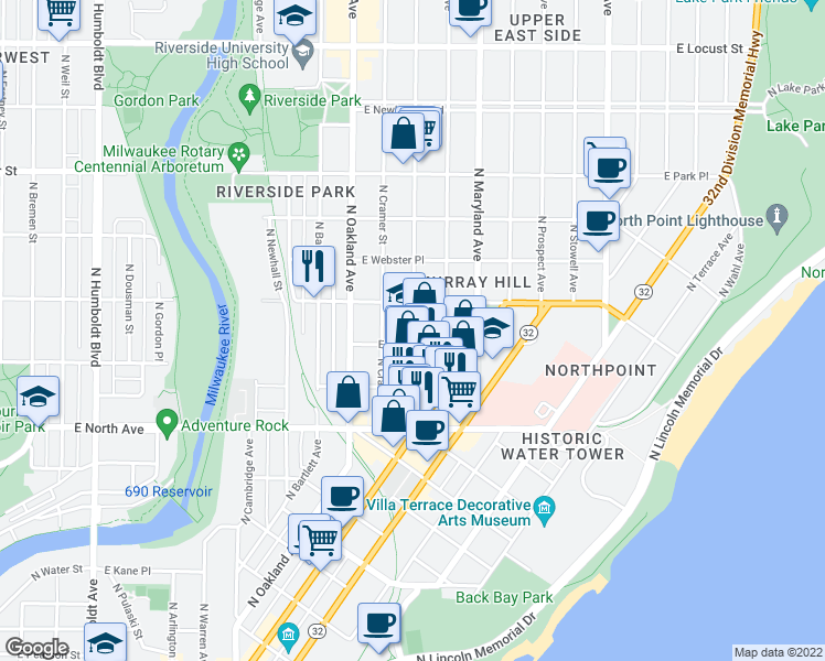 map of restaurants, bars, coffee shops, grocery stores, and more near 2489 N Frederick Ave in Milwaukee