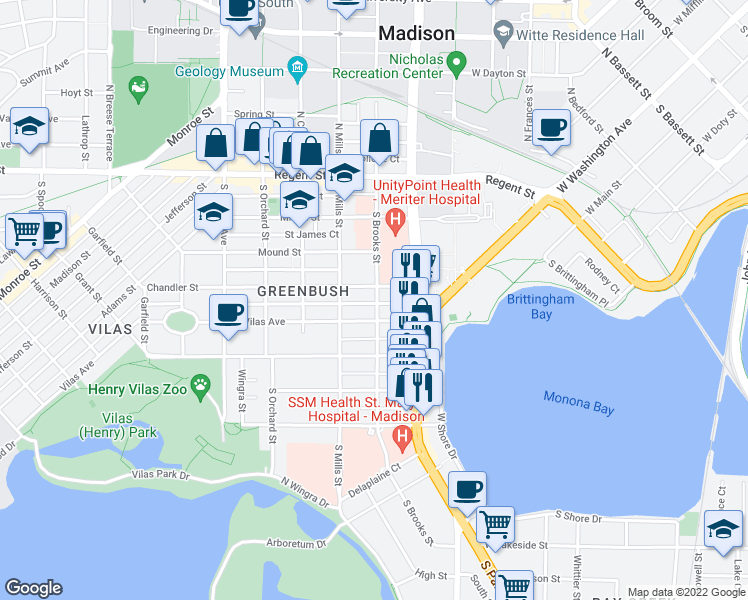 map of restaurants, bars, coffee shops, grocery stores, and more near 308 S Brooks St in Madison