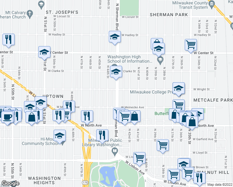 map of restaurants, bars, coffee shops, grocery stores, and more near 2465 N Sherman Blvd in Milwaukee