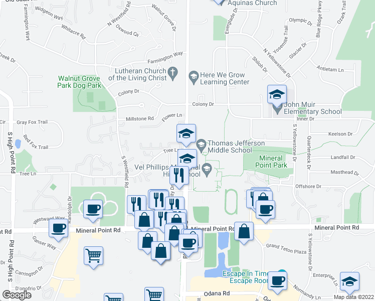 map of restaurants, bars, coffee shops, grocery stores, and more near Memorial Way in Madison