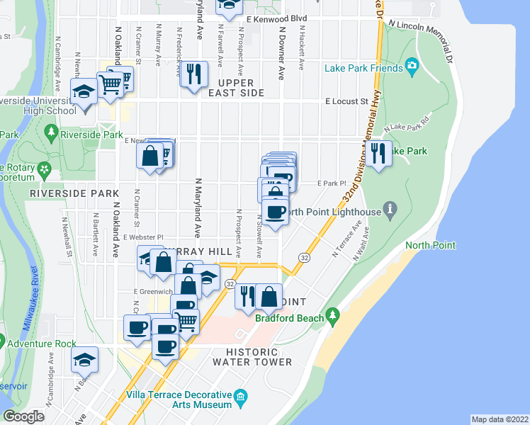 map of restaurants, bars, coffee shops, grocery stores, and more near 2511 E Belleview Pl in Milwaukee